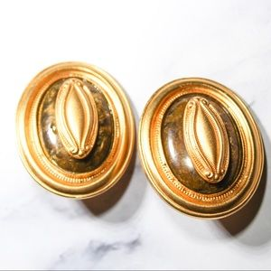 Vintage Gold Tone Statement Clip Earrings